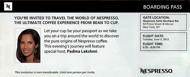 nespresso - invite with Padma Lakshmi