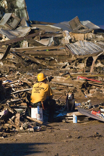 <p>A rescue worker and a search dog sit outside the remains of the Plaza Towers Elementary School in Moore, Okla., May 20, 2013. The city was hit by a tornado. (DoD photo by Maj. Geoff Legler, U.S. Army National Guard/Released)</p>