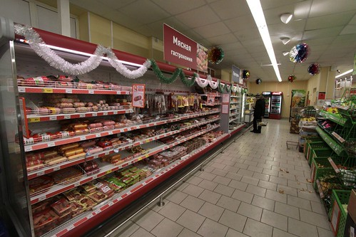 Meat and smallgoods in a Russian supermarket