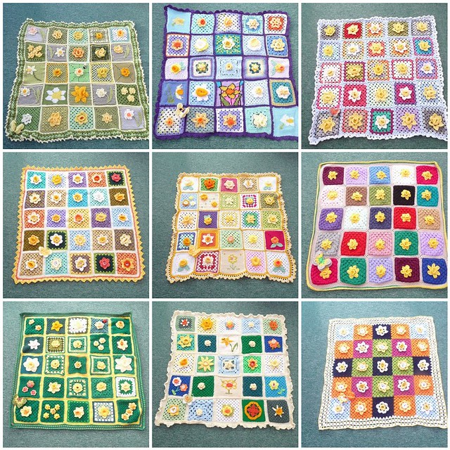 The 9 Daffodil Blankets which will be donated to 9 Marie Cancer Care Hospices here in the UK.
