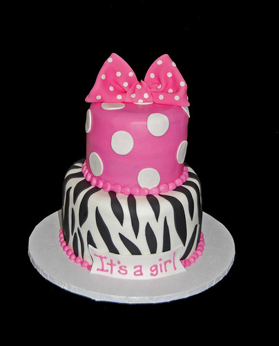 Hot pink polka dots and zebra print for a Minnie Mouse themed Baby Shower