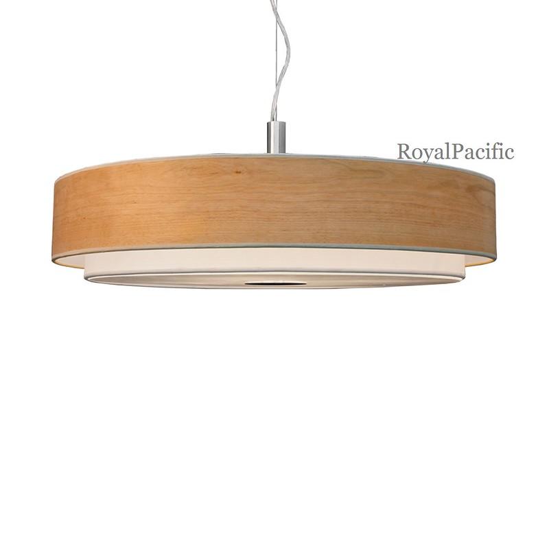 4 lamp 28 round grain wood veneer shade chandelier