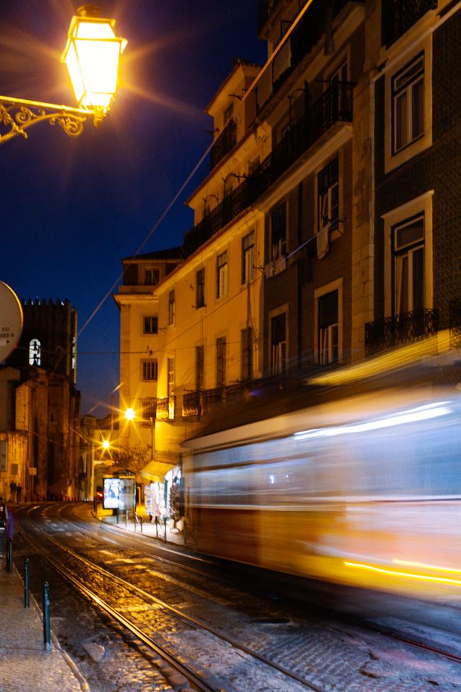 Lisbon tram streetcar night