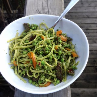 Linguine with pesto, sausage and peppers