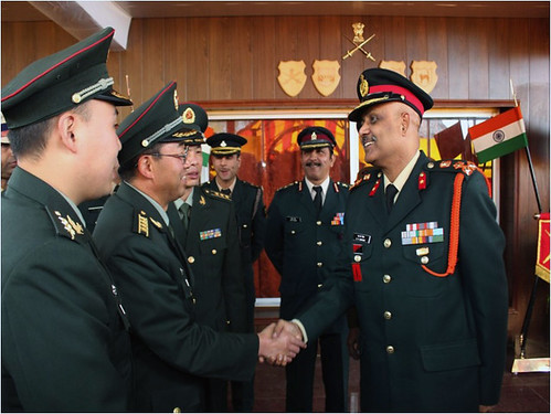 Indian Brigadier SK Sengar greeting his Chinese counterpart at the Border Personnell Meeting held at Natu La on Sunday by Chindits