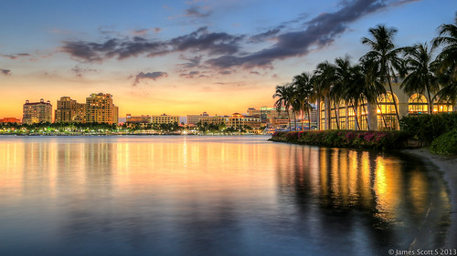city sunset west reflection beach water canon scott landscape james high dynamic s palm rays range ef hdr waterway intracoastal 24105 photomatix bracketed lr5 5diii