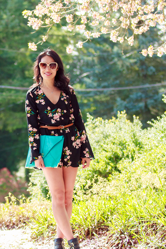 Pins and Needles Urban Outfitters floral romper, ShoeMint Francoise booties, ASOS turquoise envelope clutch, Aritzia Wilfred belt, fashion, style, spring