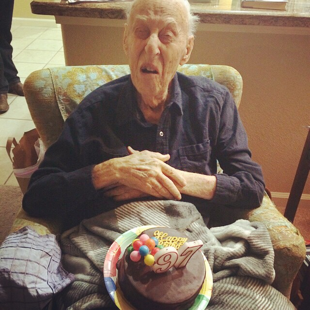 Happy 97th birthday to this guy. He cracks me up! He loves his chocolate though!