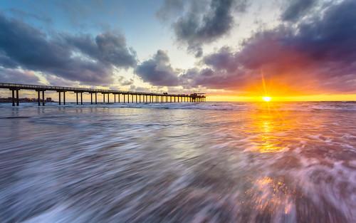 california sunset seascape beach clouds landscape unitedstates pacific sandiego lajolla socal sunburst peir scrippspier suburst fishingpeir