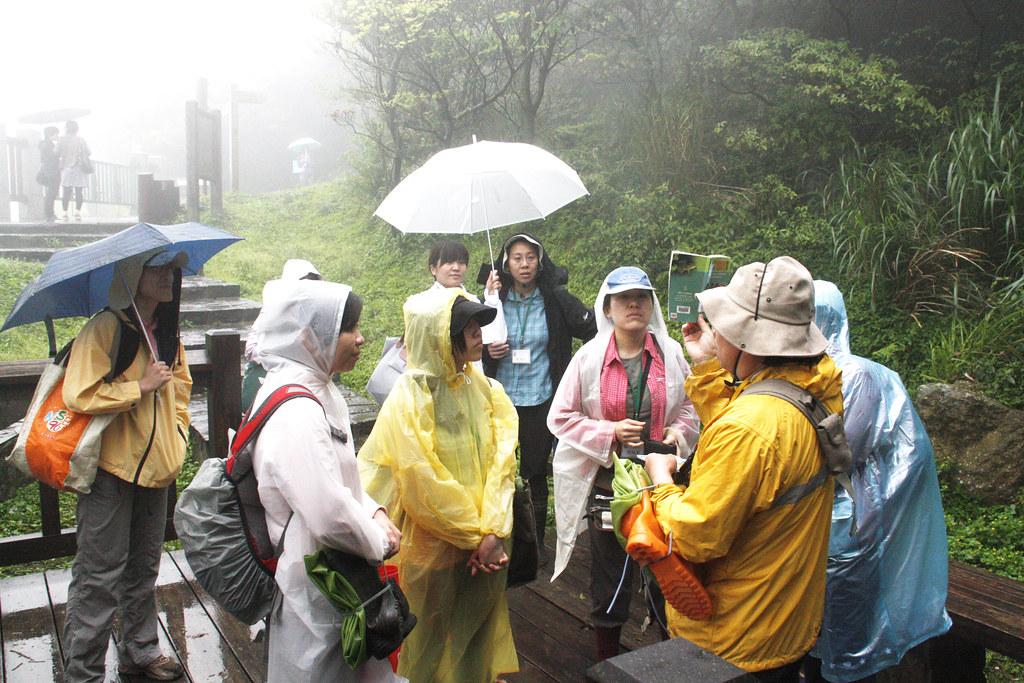 在雨中老師講解當地特有種生態