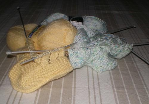 tricot layette chaussons pour b b commenc s par la semelle patchcath. Black Bedroom Furniture Sets. Home Design Ideas
