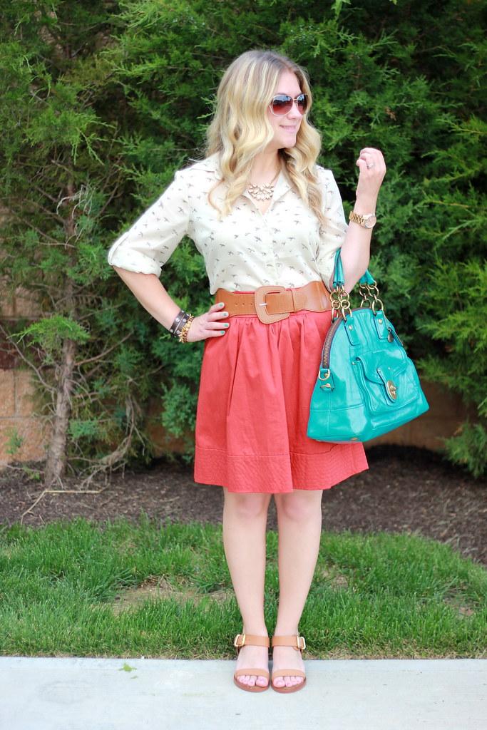 bird print blouse summer work outfit