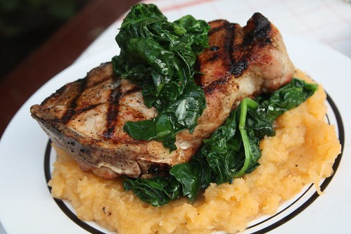 Grilled Pork Loin Chop with Mashed Rutabaga and Sauteed Spinach