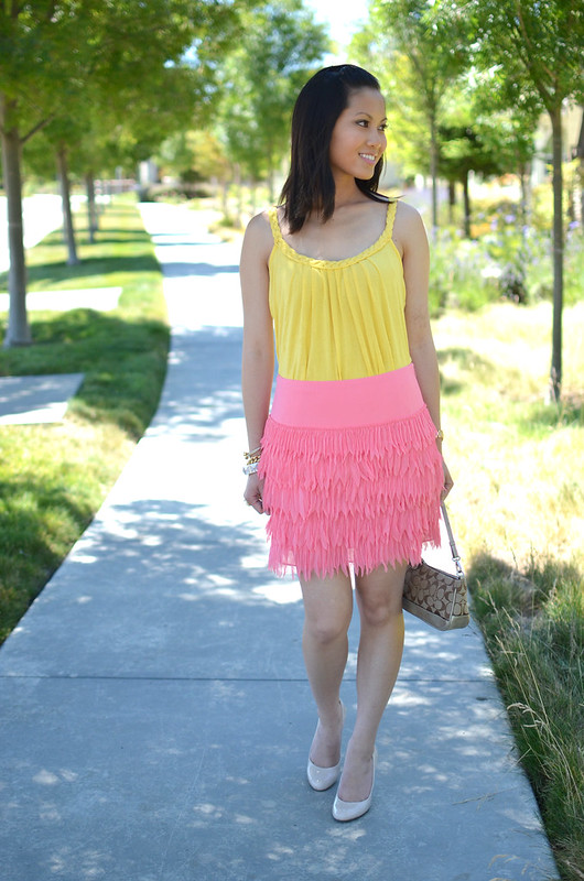 bright yellow top and Ann Taylor plume pink frill feather skirt