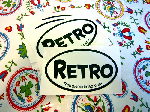 Retro Roadmap Oval Stickers