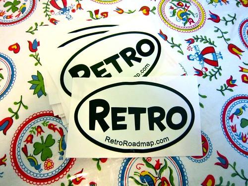 Retro Roadmap Oval Stickers