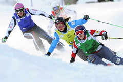 Kelsey Serwa battles to a first-place finish during the ski cross World Cup in Innichen/San Candido, ITA