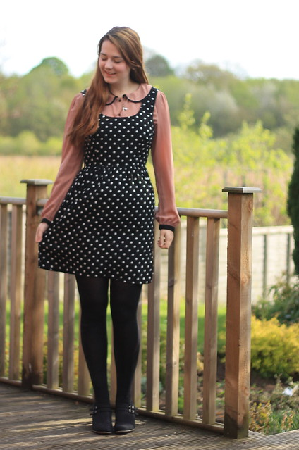 OOTD, outfit of the day, pink blouse, polka dot pinafore dress, tights, wedges