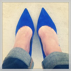 Don't even think of stepping on these #blue #suede #shoes.