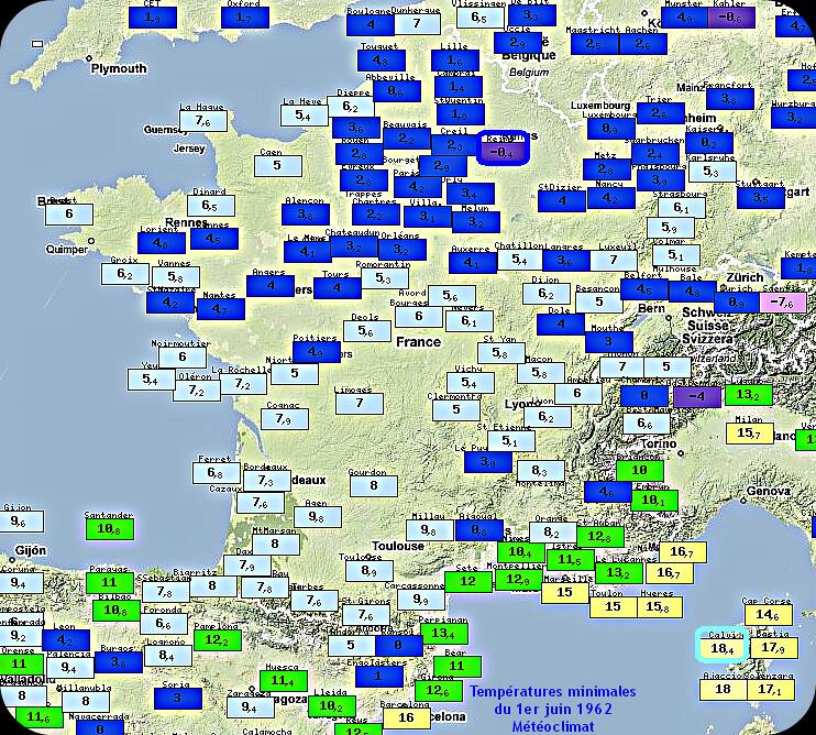 températures minimales et records de froid du 1er juin 1962 météopassion