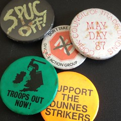 Political badges from campaigns in Ireland in 80s and 90s