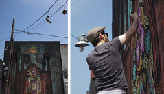 Beau Stanton paints in the Bushwick Collective for Bushwick Open Studios