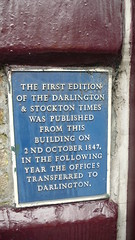 Photo of Darlington and Stockton Times blue plaque