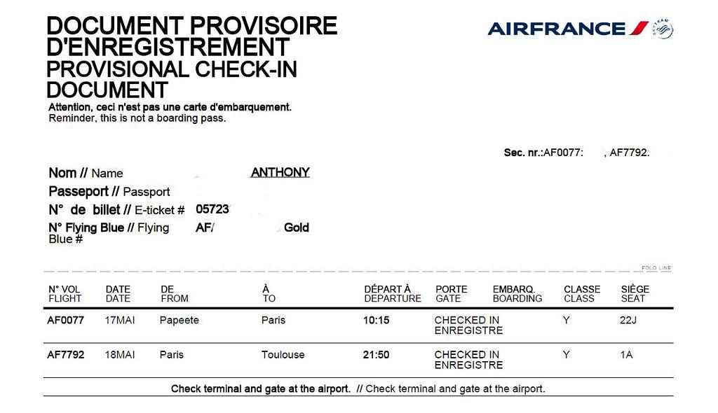 Avis du vol Air France Papeete → Los Angeles en Economique