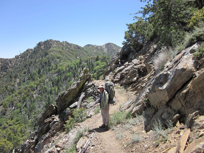 Hiking along just east of Antsell Rock - looking south to Apache Peak (above my pack, center)