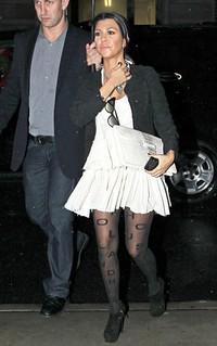 Kourtney Kardashian Patterned Tights Celebrity Style Women's Fashion