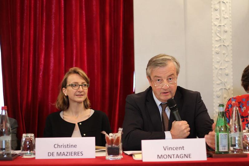 Christine de Mazières (déléguée générale du SNE) et Vincent Montagne (Média Participations, Président du SNE)