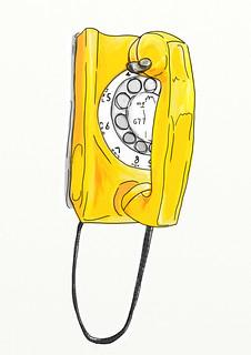 Yellow wall phone
