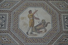 Javelin thrower with panther, the gladiator mosaic at the Roman villa in Nennig, Germany