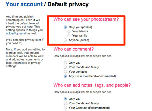 Flickr: Default Privacy Settings