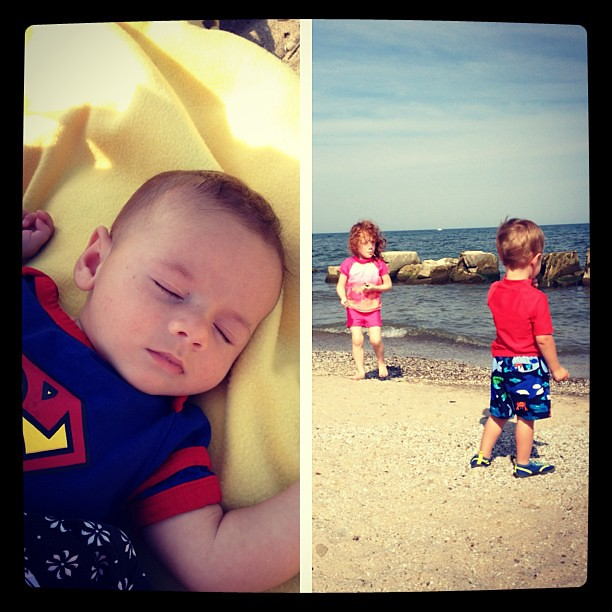 Three kids at the beach with one parent. WHAT UP. #babysteps #beach #endofsummerfun