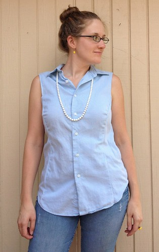 Blue Button-Down Blouse