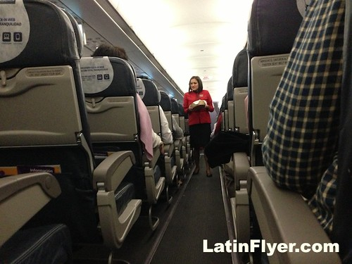 LAN Airlines Airbus A320 interior & flight attendant