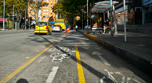 Photo set from Bogota, Colombia (April 17 to 19, 2014).  Cycling lanes.