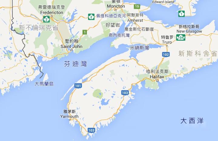 世界潮差最大的海灣:加拿大芬迪灣 Bay Of Fundy, World's Highest Tides,圖片截自:Google Map