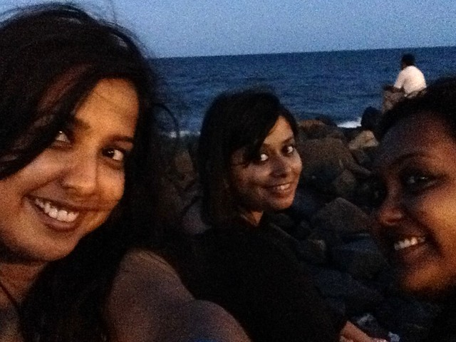 The happy selfie featuring the three of us - (L to R) Meenal, Akanksha, Rima. Location: Our favourite spot, Promenade Beach