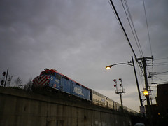 Metra train along Stewart Street