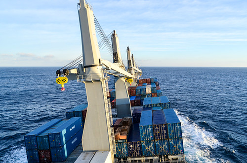 Cargo ship rolling in the Bay of Biscay