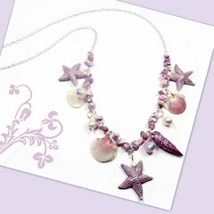 polymer clay Pink-Lavender Seashell necklace