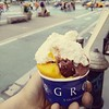 Summer time in the city! #mangosorbet and #cioccolato #gelato with fresh whipped cream