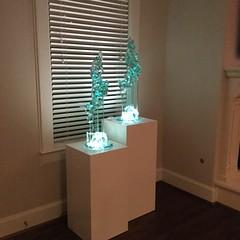 White Laminate Pedestal with Spotlight
