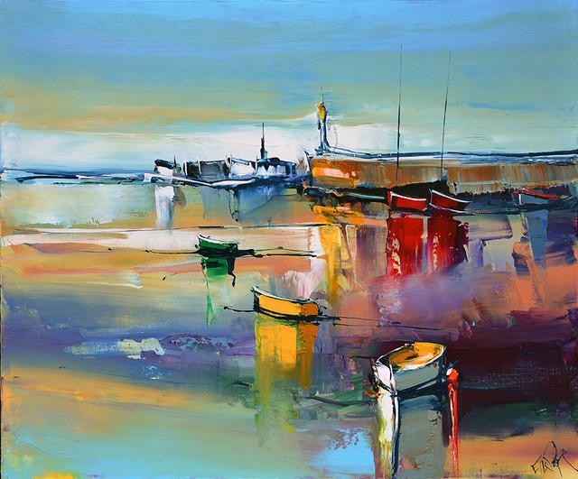 Eric le pape artiste peintre de bretagne peintures de bretagne c te bretonne port de p che - Peinture couleur peche ...