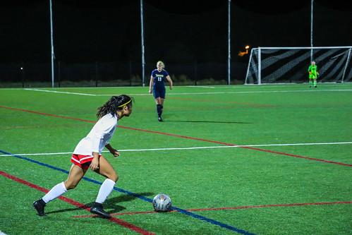 <p>Sandra Grimaldo preparing to kick to her defender.</p>