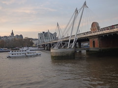 River Thames from the South Bank in London - Hungerford Bridge and Golden Jubilee Bridges