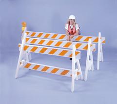 orange and white road blockade