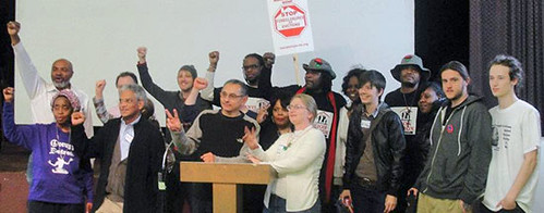 Abayomi Azikiwe, editor of the Pan-African News Wire, far left second row, at the National Conference for a Moratorium on Foreclosures. The event was held at Central United Methodist Church in downtown Detroit on March 31, 2012. (Photo: Bryan Pfeifer) by Pan-African News Wire File Photos